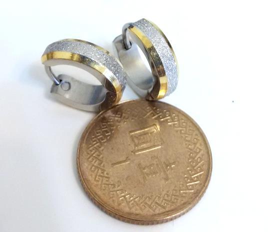 金邊亮砂 (一對) 西德鋼耳環批發耳扣易扣