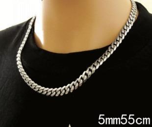 5mm時尚基本磨邊側身白鋼項鍊/鈦鋼項鍊