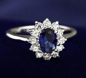 黛安娜王妃款 藍寶石八心八箭戒指 (活圍設計美規6-7號可調整)