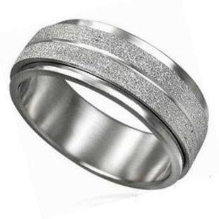 轉運戒 好運到 鈦鋼戒指 / 珍珠沙款/送戒指盒 / 寬版8mm / 美規6-11號