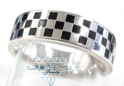 經典格紋925純銀戒指《免費英文名字刻字》訂婚結婚必備純銀戒指