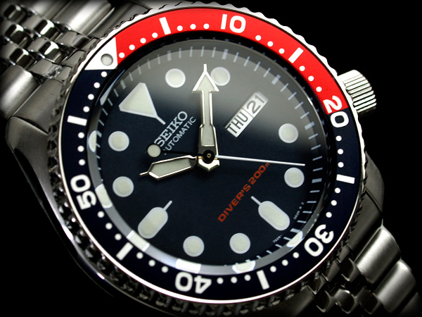 精工不銹鋼帶男孩潛水夫自動手錶