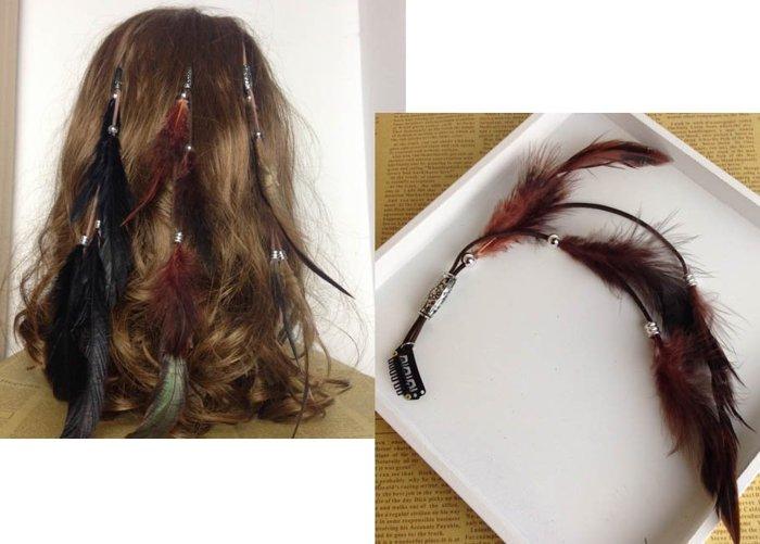 ★草魚妹★H340頭飾波西米亞印地安民族風手工製作羽毛串珠造型編織流蘇髮夾髮飾,售價120元