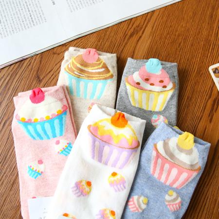 韓國 立體杯子蛋糕造型短襪 食物 甜點 襪子 中筒襪 造型襪 流行襪【N201455】