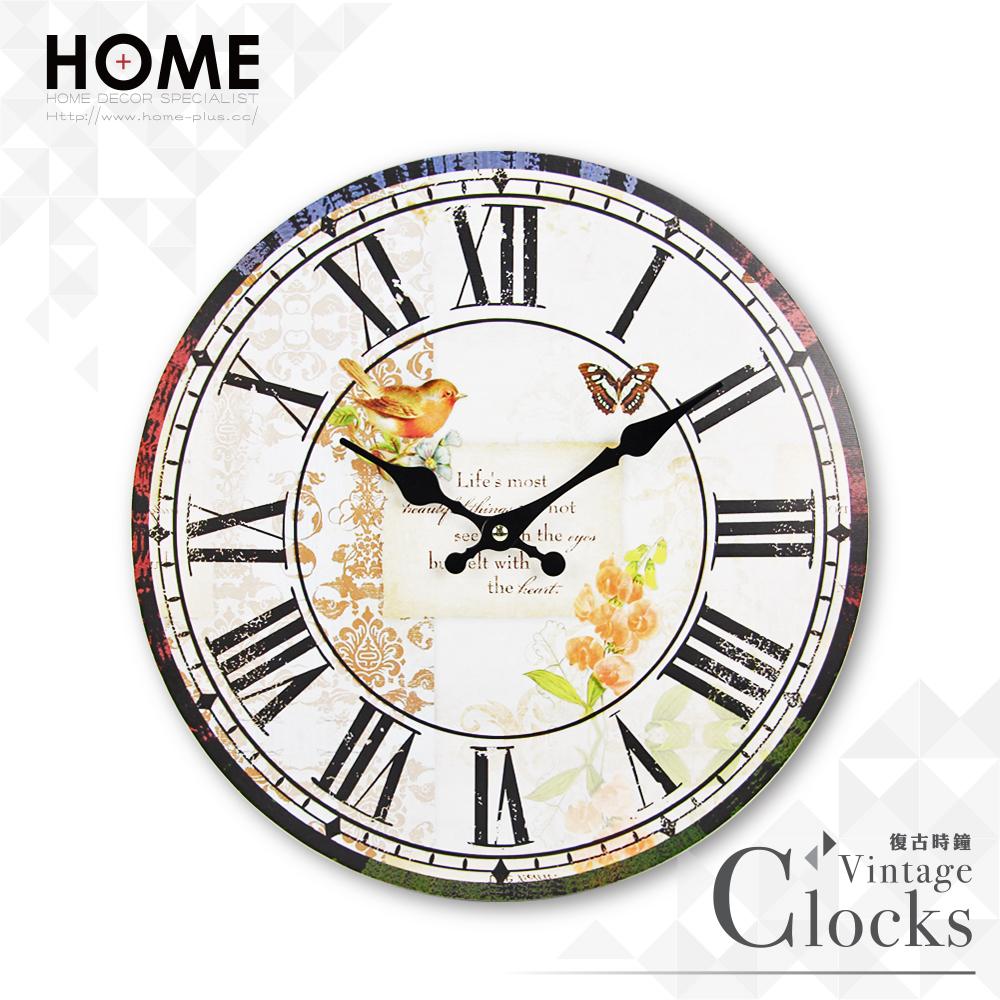 HOME+ 復古時鐘 古典花園 靜音機芯 Zakka掛鐘 壁鐘 無框畫 雜貨 鄉村 田園 工業 室內設計 裝潢 裝飾 擺飾