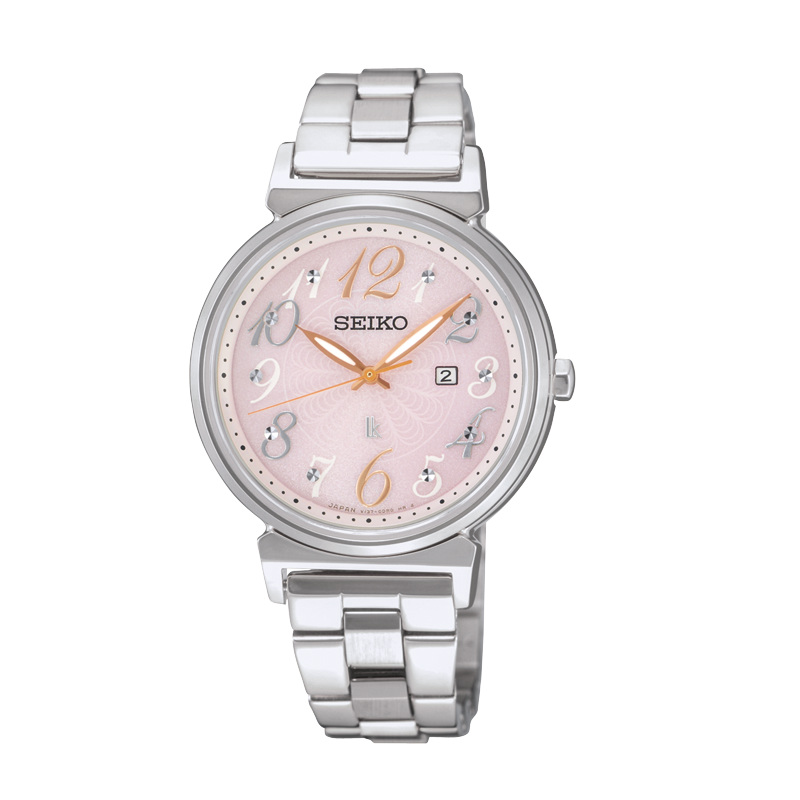 Seiko Lukia  V137-0BW0P(SUT255J1)花樣銀太陽能腕錶/粉紅面32mm