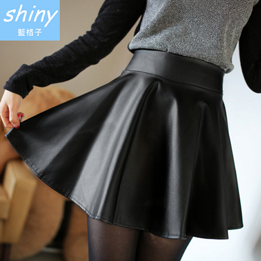 【V0353】shiny藍格子-美型時尚.修身蓬蓬高腰百褶PU皮短裙