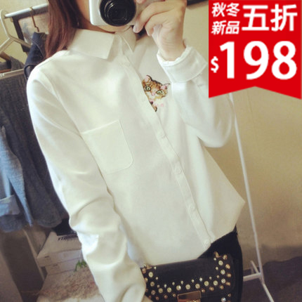 ❤原價396五折198❤甜美貓咪探頭刺繡襯衫  秋天單穿  冬天內搭  一衣多穿【GF903S3EI】