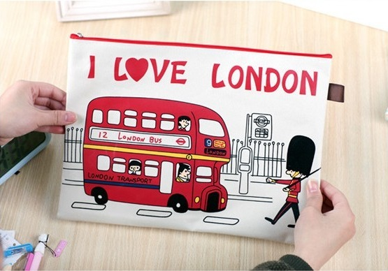 *GuoQu* 韓國飛越倫敦拉鍊文件袋 A4文件袋帆布手拿資料夾