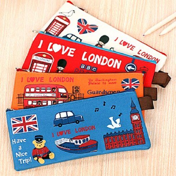 *GuoQu*  韓版可愛飛越倫敦帆布筆袋 文具收納學生zakka筆袋