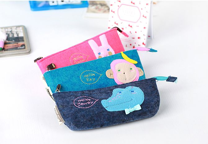 *GuoQu* 韓國文具 韓版Romane森の萌物系列筆袋 毛氈 不織布鉛筆袋 文具袋