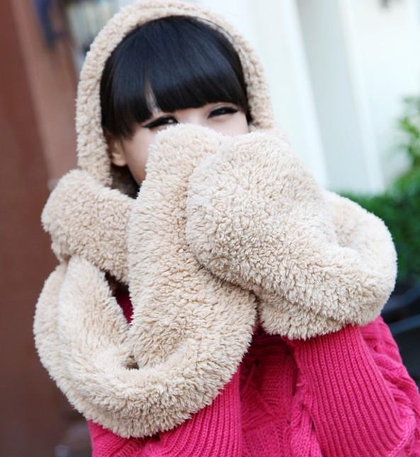 *GouQu* 秋冬保暖羊羔絨圍巾帽子手套一體 保暖多功能圍巾