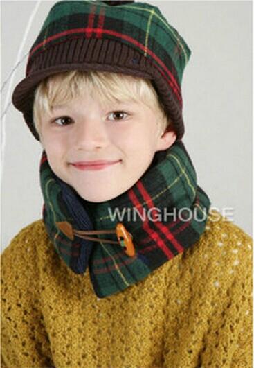 *GouQu* 韓版兒童圍脖保暖棉質木質牛角扣 羊角扣格子親子圍巾