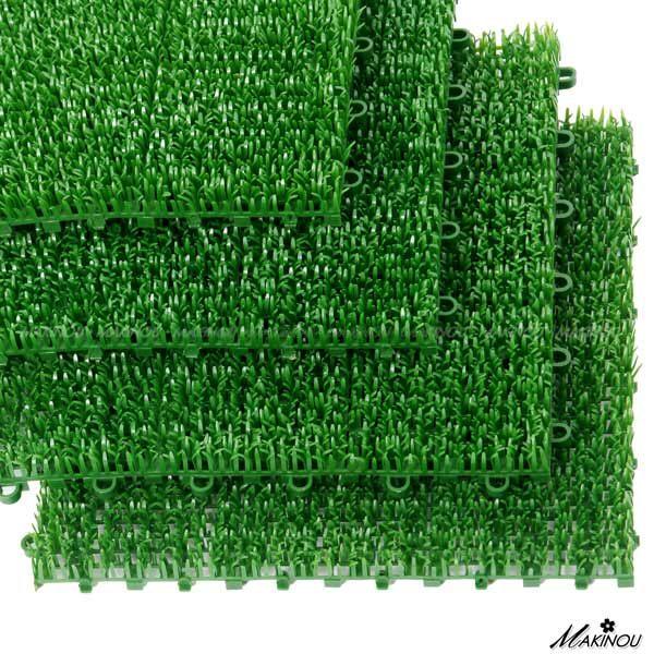 地墊|4片裝-日系自然風拼裝翠綠草地墊-30*30cm|日本牧野 腳踏墊 人造草皮 人工造景 隔熱 MAKINO