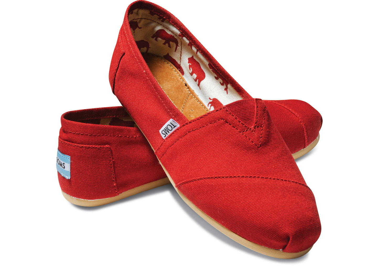 【TOMS】紅色素面基本款休閒鞋  Red Canvas Women's Classics