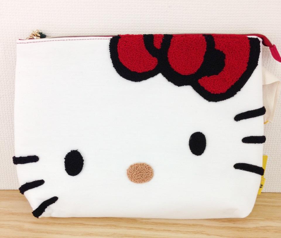 【真愛日本】16030800020 聯名FP手拿包-大頭刺繡紅結 KITTY 凱蒂貓 三麗鷗 收納 化妝包 雜物包
