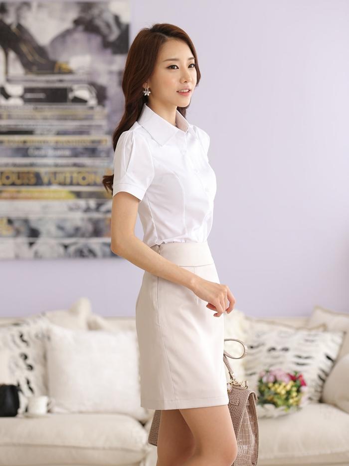 白襯衫美女的誕生 (改良版 短袖) OL 襯衫 套裝 通勤 工作服 大尺碼 wcps13