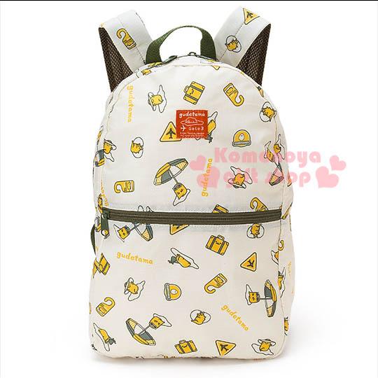 〔小禮堂〕蛋黃哥 可折疊後背包《淺黃.多動作.大洋傘.滿版》可掛於行李箱桿上