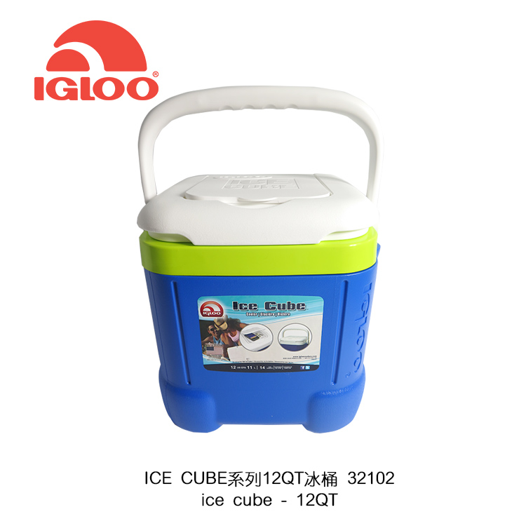 IgLoo ICE CUBE系列12QT冰桶43058.32102/城市綠洲專賣 藍色/11L (保鮮保冷、戶外旅行露營、美國製造、小型好攜帶)