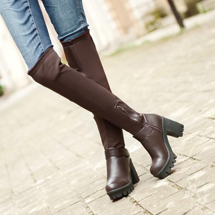 時尚個性拼接彈性粗跟厚底過膝側拉鍊馬靴-黑/咖(34-42)【190812992970】