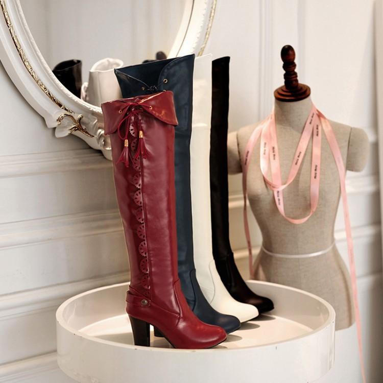 高貴氣質可反摺側綁帶雕花高跟粗跟過膝長靴-黑,白,藍,紅(33-43)【260813298269】