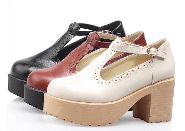 日系森女學院風圓頭女鞋T帶中跟粗跟單鞋英倫復古小皮鞋-棕/米/黑 34-39預購【no-44166854212】