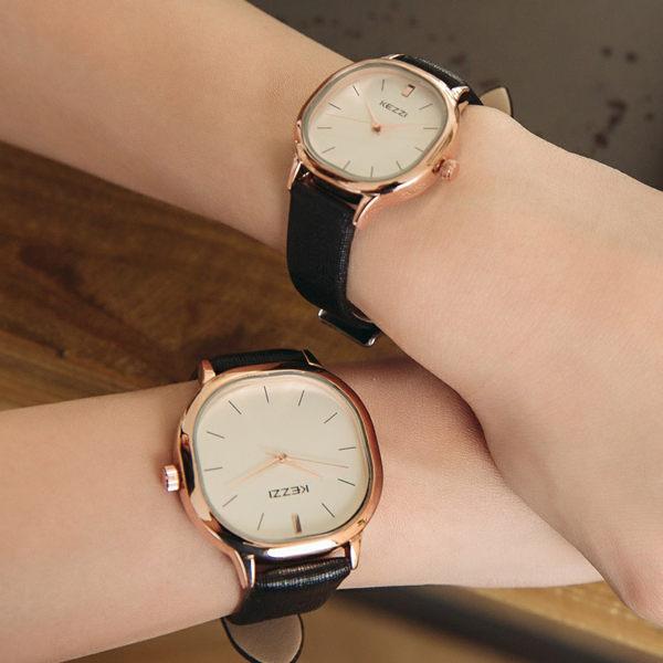 《好時光》香港品牌 KEZZI  方型 玫瑰金 簡約線條刻度 皮錶帶  時尚女錶 男錶 對錶-單支價格