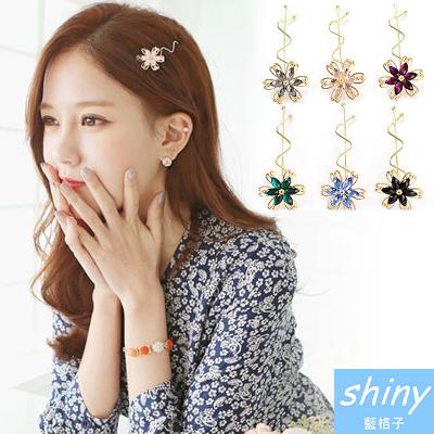 【33A91】shiny藍格子-俏麗女孩.花朵水晶瀏海扭邊髮夾