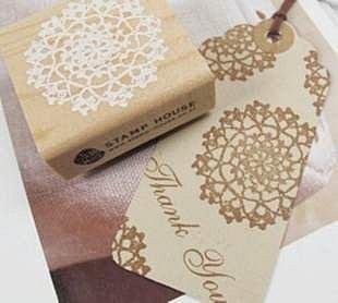=優生活=韓國文具 浪漫蕾絲印花 木質印章 精緻小巧木頭印章 裝飾印章