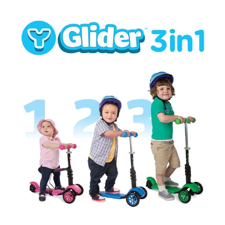 Y.Volution Glidel三輪平衡車-三合一款Y-G31/城市綠洲(三色.幼兒發展.學步滑步車.騎乘玩具.3歲以上)