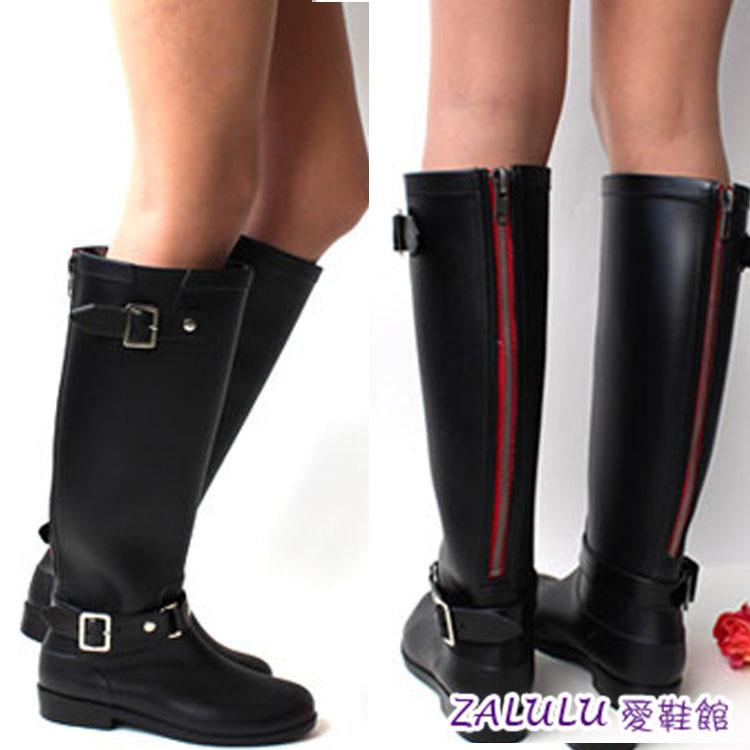 ?zalulu愛鞋館 JK012預購款防水雨靴高筒搭扣水鞋機車女雨鞋拉鍊款高檔馬靴-黑40