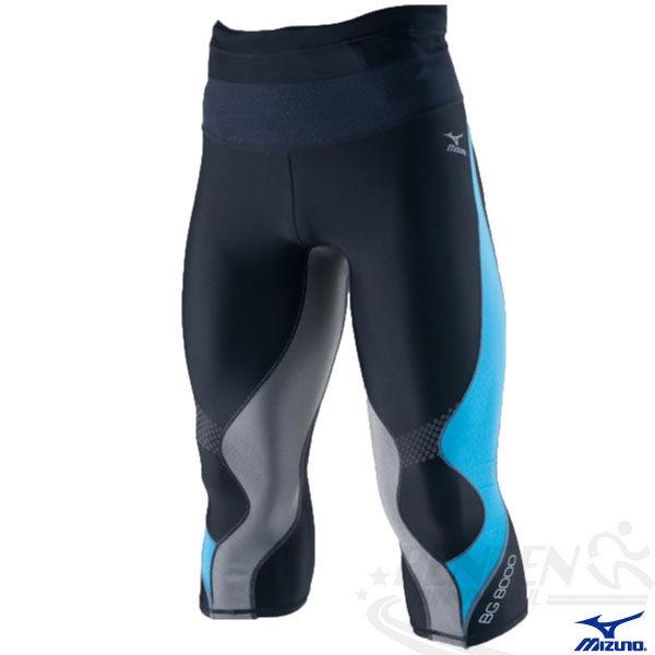 MIZUNO美津濃 BIO GEAR BG8000男膝下型七分緊身褲(黑*藍) 膝蓋大腿肌肉支撐力