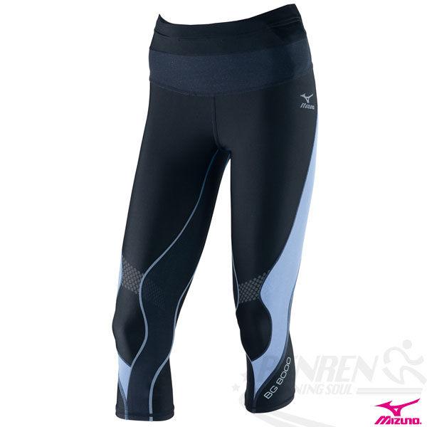 MIZUNO美津濃 BG8000女膝下七分長緊身褲(黑*紫) 膝蓋大腿肌肉支撐力A76BP-27797