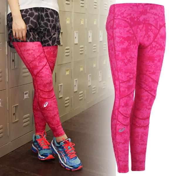 ASICS亞瑟士 女 迷彩印花緊身長褲RF(粉紅)  抑制大腿晃動 支撐膝蓋