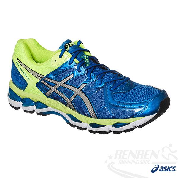 ASICS亞瑟士-GEL-KAYANO 21 男高支撐型慢跑鞋(藍*綠)。