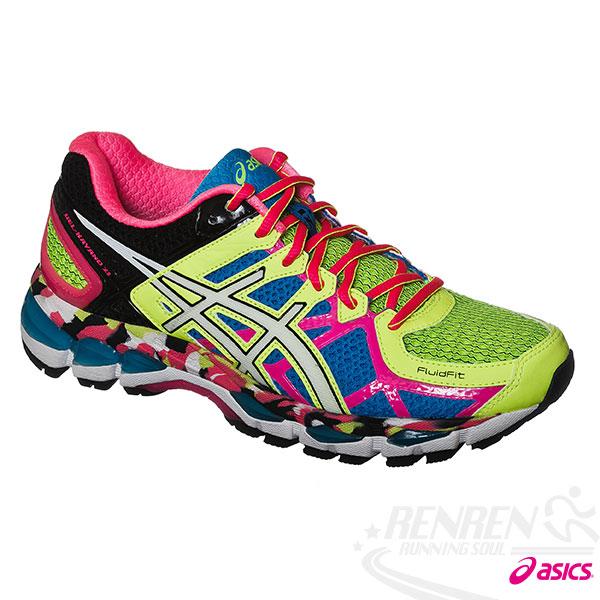 ASICS亞瑟士-GEL-KAYANO 21 女高支撐型慢跑鞋(螢光迷彩)。