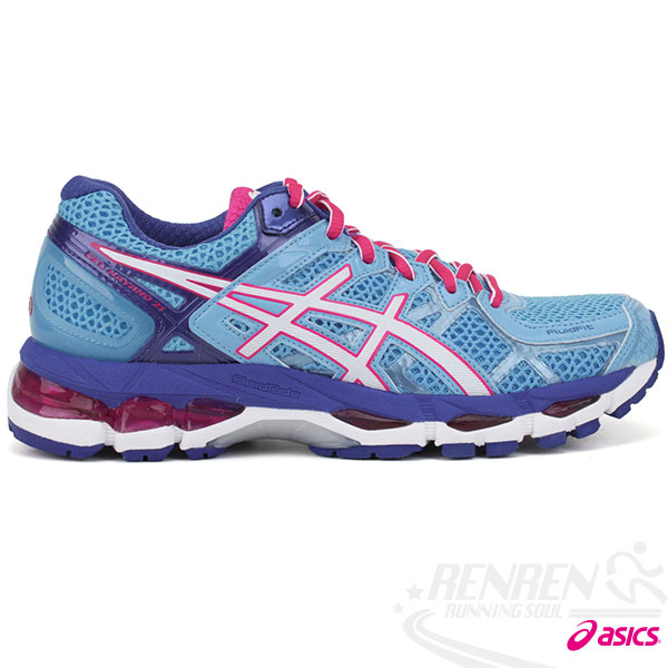 ASICS亞瑟士-GEL-KAYANO 21 女高支撐型慢跑鞋(水藍*紅)。