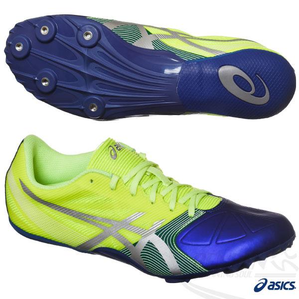 ASICS亞瑟士 短距離釘鞋 HYPERSPRINT 6 田徑釘鞋(螢光黃*藍) 男女通用2015新款