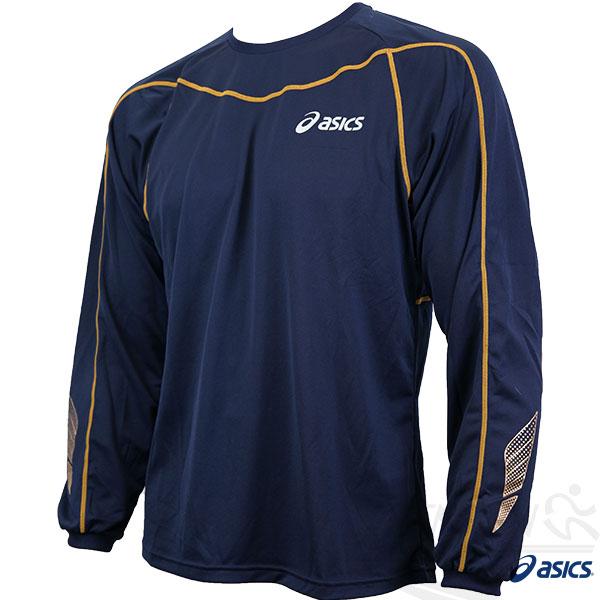 ASICS亞瑟士 背部保暖長袖T恤(丈青) 舒適質感 吸汗快乾 翼系列運動長T