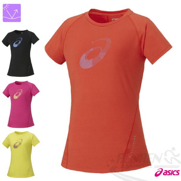 ASICS 亞瑟士 女運動短袖T恤(橘紅) LOGO短T 微腰身修飾