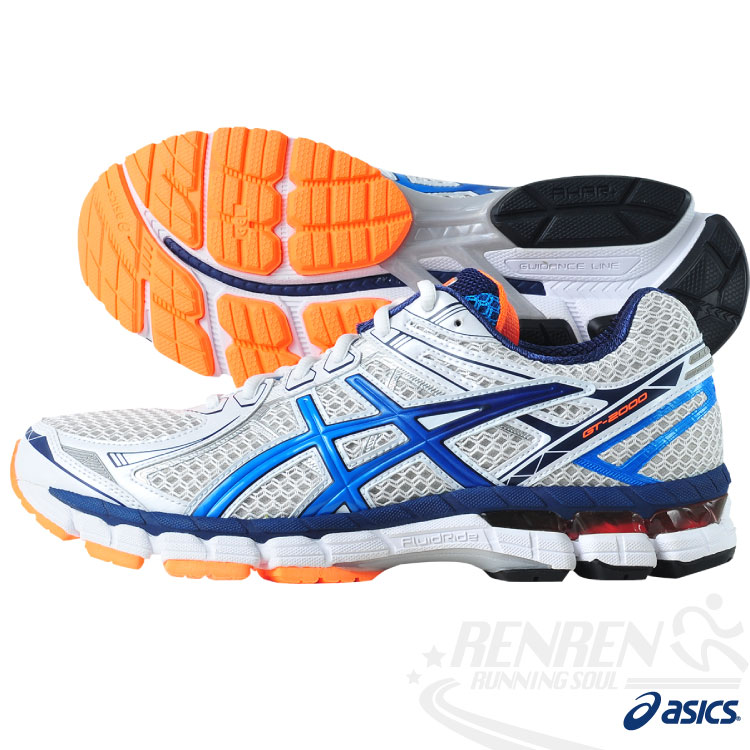 ASICS亞瑟士 男支撐型慢跑鞋GT-2000 2(白*藍) 2014最新款T3P3N-0148