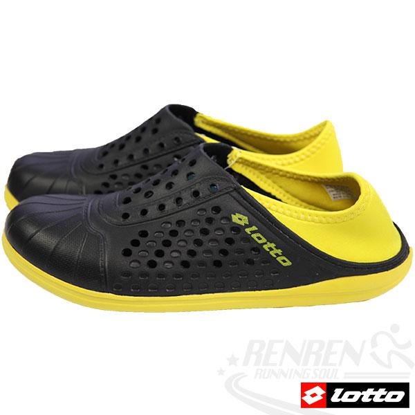 LOTTO 洞感輕便鞋 輕量透氣洞洞鞋(黑/黃)