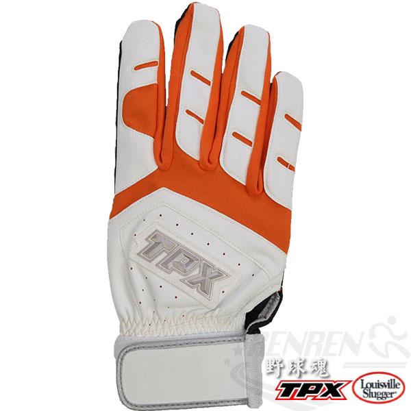Louisville Slugger TPX X Series特殊壓紋合成皮 打擊手套(白*橘/右手) LB14264R40