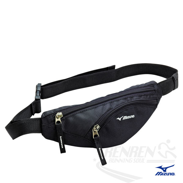 MIZUNO 美津濃 輕量防水運動腰包(黑) 2014新款 透氣 路跑 慢跑 單車適用 33TM414009