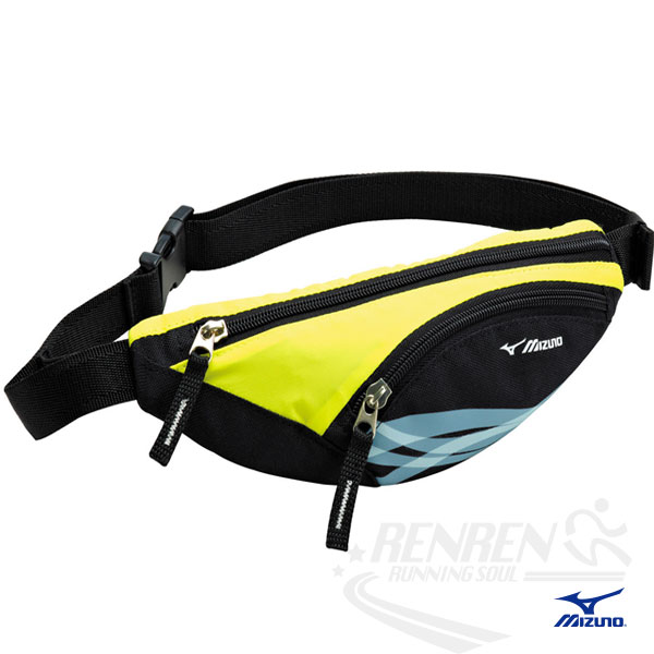 MIZUNO 美津濃 輕量防水運動腰包(黑/黃) 2014新款 透氣 路跑 慢跑 單車適用 33TM414094