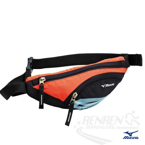 MIZUNO 美津濃 輕量防水運動腰包(黑/紅) 2014新款 透氣 路跑 慢跑 單車適用 33TM414095