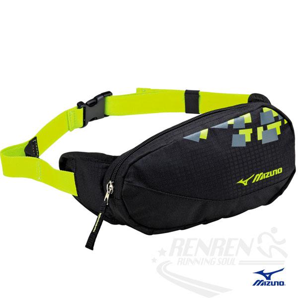 MIZUNO 美津濃 輕量防水運動腰包(黑*螢光黃) 2014新款 透氣 路跑 慢跑 單車適用 58DA-36593