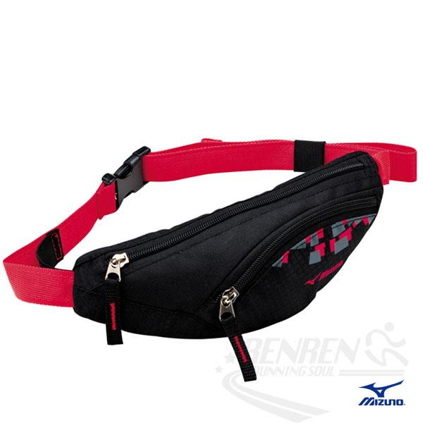 MIZUNO 美津濃 輕量防水運動腰包(黑*紅) 2014新款 透氣 路跑 慢跑 單車適用 58DA-36396