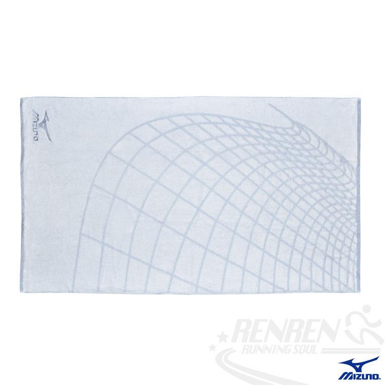 MIZUNO美津濃 休閒運動大浴巾(白藍) 100%純棉毛巾