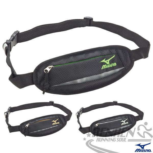 MIZUNO 美津濃 運動小腰包(反光/黑*綠) 夜跑系列 輕量